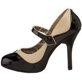 Zwart Beige 11,5 cm rockabilly TEMPT-07 damesschoenen met hoge hak