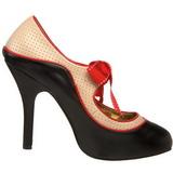 Zwart Beige 11,5 cm rockabilly TEMPT-27 damesschoenen met hoge hak