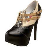 Zwart Beige 14,5 cm Burlesque TEEZE-24 damesschoenen met hoge hak