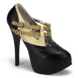 Zwart Beige 14,5 cm TEEZE-24 damesschoenen met hoge hak