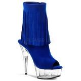 Zwart Blauw 15 cm DELIGHT-1019 dames enkellaarsjes met franjes
