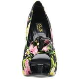 Zwart Bloem 13 cm LOLITA-11 damesschoenen met hoge hak