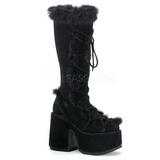 Zwart Bont 13 cm CAMEL-311 Gothic Laarzen Dames
