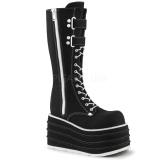 Zwart Canvas 10 cm MORI-310 demonia laarzen met plateau