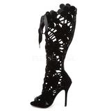 Zwart Fluweel 13 cm AMUSE-2020 Dames Laarzen