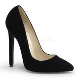 Zwart Fluweel 13 cm SEXY-20 Dames Pumps Schoenen Plat