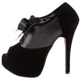 Zwart Fluweel 14,5 cm TEEZE-16 damesschoenen met hoge hak