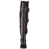 Zwart Fluweel 9,5 cm GLAM-300 Over de Knielaarzen Hoge Hak