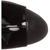 Zwart Gelakt 18 cm Pleaser ADORE-1018 Plateau Enkellaarzen