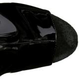 Zwart Gelakt 20 cm Pleaser FLAMINGO-1018 Plateau Enkellaarzen