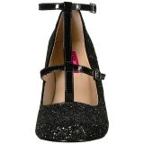 Zwart Glitter 10 cm QUEEN-01 grote maten pumps schoenen