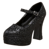 Zwart Glitter 11 cm MARYJANE-50G Plateau Pumps Mary Jane