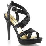 Zwart Glitter 12 cm LUMINA-21 Hoge Avond Sandalen met Hak