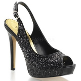 Zwart Glitter 12 cm LUMINA-28G Hoge Avond Pumps Schoenen met Hak