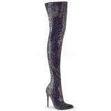 Zwart Glitter 13 cm COURTLY-3015 Pleaser Overknee Laarzen