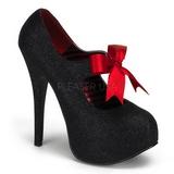 Zwart Glitter 14,5 cm Burlesque TEEZE-04G damesschoenen met hoge hak