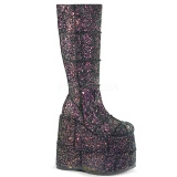 Zwart Glitter 18 cm STACK-301G demonia laarzen - unisex cyberpunk laarzen