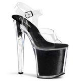 Zwart Glitter 20 cm XTREME-808G Platform Schoenen met Hoge Hakken