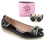Zwart IVY-09 ballerinas platte damesschoenen met parels