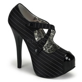 Zwart Krijtstreep 14,5 cm Burlesque TEEZE-23 damesschoenen met hoge hak