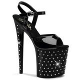 Zwart Kristal Steen 20 cm STARDUST-809 Platform Schoenen met Hoge Hakken
