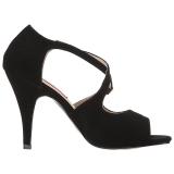 Zwart Kunstleer 10 cm DREAM-412 grote maten sandalen dames