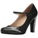 Zwart Kunstleer 10 cm QUEEN-02 grote maten pumps schoenen