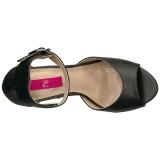 Zwart Kunstleer 12,5 cm EVE-02 grote maten sandalen dames
