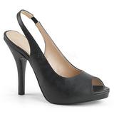 Zwart Kunstleer 12,5 cm EVE-04 grote maten sandalen dames