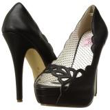 Zwart Kunstleer 13,5 cm BELLA-30 pumps schoenen open teen