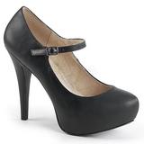 Zwart Kunstleer 13,5 cm CHLOE-02 grote maten pumps schoenen
