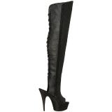 Zwart Kunstleer 15 cm DELIGHT-3019 overknee laarzen met plateauzool