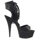 Zwart Kunstleer 15 cm DELIGHT-600-14 pleaser sandalen met plateau