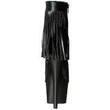 Zwart Kunstleer 18 cm ADORE-1019 dames enkellaarsjes met franjes