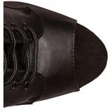 Zwart Kunstleer 18 cm ADORE-1021 dames enkellaarsjes met plateauzool
