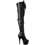 Zwart Kunstleer 18 cm ADORE-3028 overknee laarzen med hoge hakken