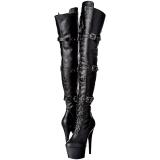 Zwart Kunstleer 18 cm ADORE-3028 overknee laarzen met hoge hakken