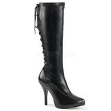 Zwart Kunstleer 5 cm EVE-208 grote maten laarzen dames