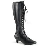 Zwart Kunstleer 5 cm FAB-2023 grote maten laarzen dames