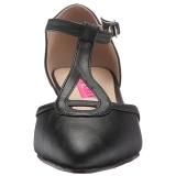 Zwart Kunstleer 5 cm FAB-428 grote maten pumps schoenen
