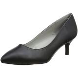Zwart Kunstleer 6,5 cm KITTEN-01 grote maten pumps schoenen