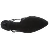 Zwart Kunstleer 6 cm KITTEN-02 grote maten pumps schoenen