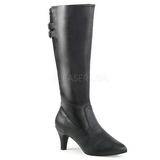 Zwart Kunstleer 7,5 cm DIVINE-2018 grote maten laarzen dames
