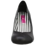 Zwart Kunstleer 7,5 cm JENNA-01 grote maten pumps schoenen
