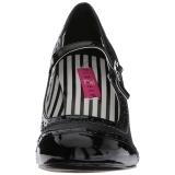 Zwart Kunstleer 7,5 cm JENNA-06 grote maten pumps schoenen
