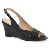 Zwart Kunstleer 7,5 cm KIMBERLY-01SP grote maten sandalen dames
