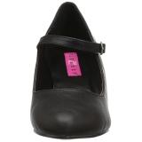 Zwart Kunstleer 8 cm DIVINE-440 Dames Pumps Schoenen Plat