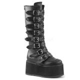 Zwart Kunstleer 9 cm DAMNED-318 plateau laarzen dames met gespen