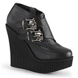 Zwart Kunstleer CREEPER-306 wedge creepers schoenen sleehakken