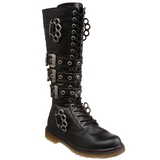 Zwart Kunstleer DEFIANT-402 Heren laarzen met Gespen
